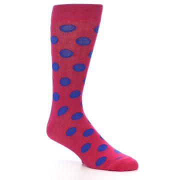 Image of Fuchsia Royal Blue Polka Dot Men's Dress Socks (side-1-27)
