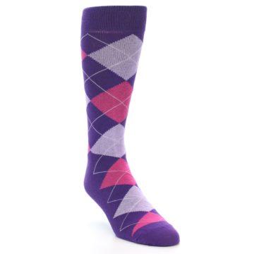 Image of Purples Pink Argyle Men's Dress Socks (side-1-front-02)