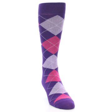 Image of Purples Pink Argyle Men's Dress Socks (side-1-front-03)