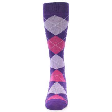 Image of Purples Pink Argyle Men's Dress Socks (front-05)