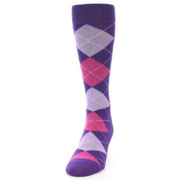 Image of Purples Pink Argyle Men's Dress Socks (side-2-front-06)