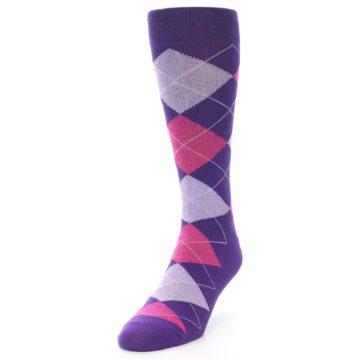 Image of Purples Pink Argyle Men's Dress Socks (side-2-front-07)