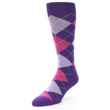 Image of Purples Pink Argyle Men's Dress Socks (side-2-front-08)
