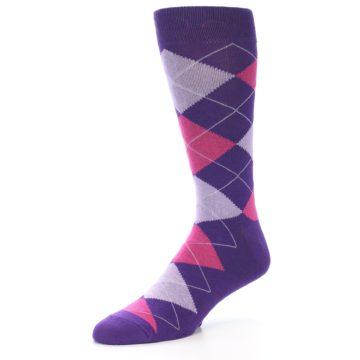 Image of Purples Pink Argyle Men's Dress Socks (side-2-09)