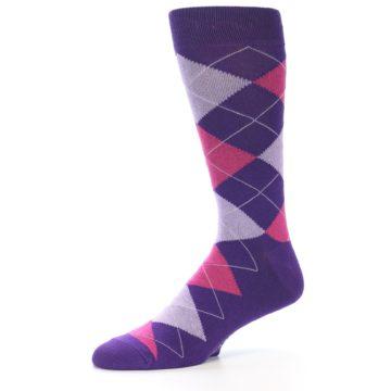 Image of Purples Pink Argyle Men's Dress Socks (side-2-10)