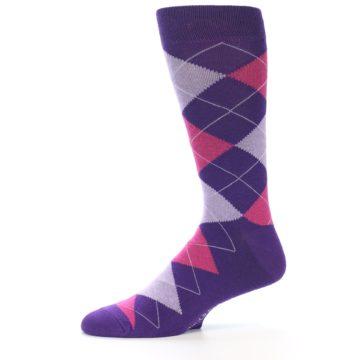 Image of Purples Pink Argyle Men's Dress Socks (side-2-11)