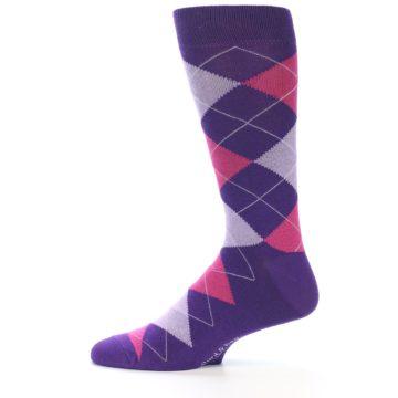 Image of Purples Pink Argyle Men's Dress Socks (side-2-12)