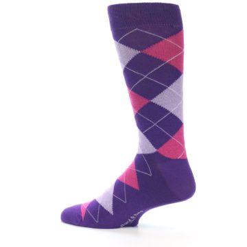 Image of Purples Pink Argyle Men's Dress Socks (side-2-13)