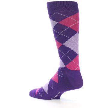 Image of Purples Pink Argyle Men's Dress Socks (side-2-back-14)
