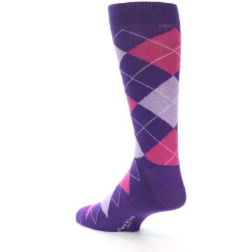 Image of Purples Pink Argyle Men's Dress Socks (side-2-back-15)