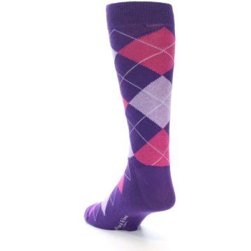 Image of Purples Pink Argyle Men's Dress Socks (side-2-back-16)