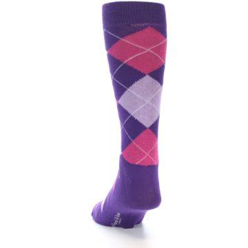 Image of Purples Pink Argyle Men's Dress Socks (back-17)