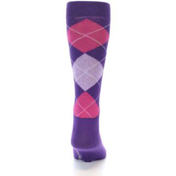 Image of Purples Pink Argyle Men's Dress Socks (back-19)