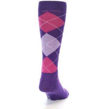 Image of Purples Pink Argyle Men's Dress Socks (side-1-back-20)