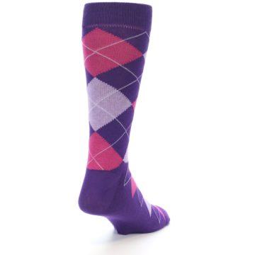 Image of Purples Pink Argyle Men's Dress Socks (side-1-back-21)
