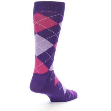 Image of Purples Pink Argyle Men's Dress Socks (side-1-back-22)