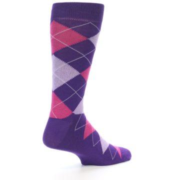 Image of Purples Pink Argyle Men's Dress Socks (side-1-23)