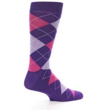 Image of Purples Pink Argyle Men's Dress Socks (side-1-24)