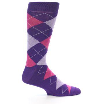 Image of Purples Pink Argyle Men's Dress Socks (side-1-25)