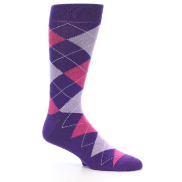 Image of Purples Pink Argyle Men's Dress Socks (side-1-26)