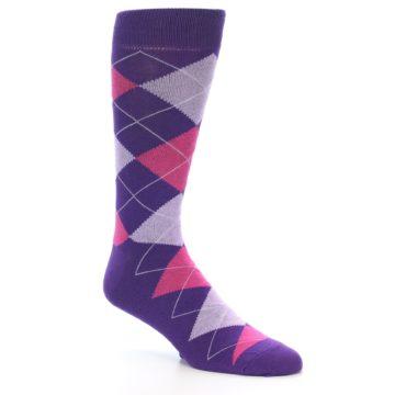 Image of Purples Pink Argyle Men's Dress Socks (side-1-27)