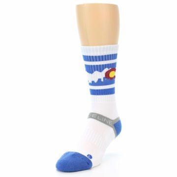 Image of Blue White Denver Colorado City Men's Athletic Crew Socks (side-2-front-07)