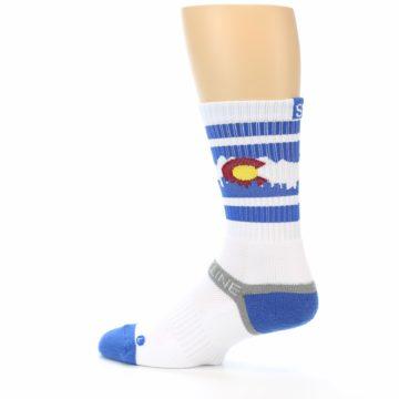 Image of Blue White Denver Colorado City Men's Athletic Crew Socks (side-2-13)