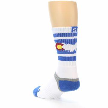 Image of Blue White Denver Colorado City Men's Athletic Crew Socks (side-2-back-15)
