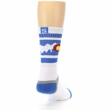Image of Blue White Denver Colorado City Men's Athletic Crew Socks (side-1-back-20)