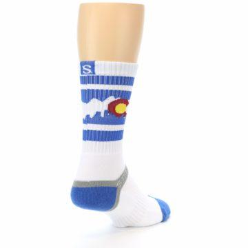 Image of Blue White Denver Colorado City Men's Athletic Crew Socks (side-1-back-21)