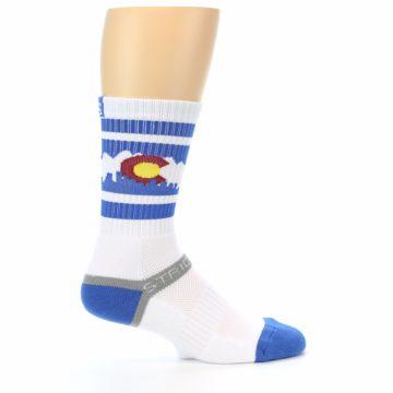 Image of Blue White Denver Colorado City Men's Athletic Crew Socks (side-1-24)