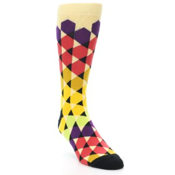 Image of Multi-Color Triangles Men's Dress Socks (side-1-front-02)