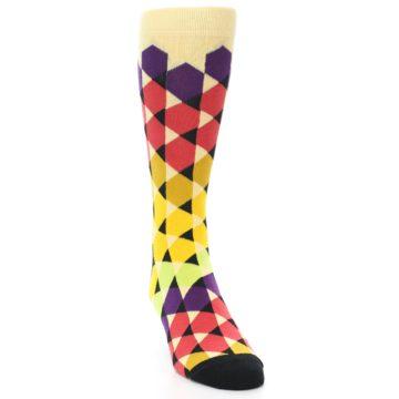 Image of Multi-Color Triangles Men's Dress Socks (side-1-front-03)