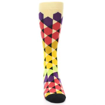 Image of Multi-Color Triangles Men's Dress Socks (front-04)