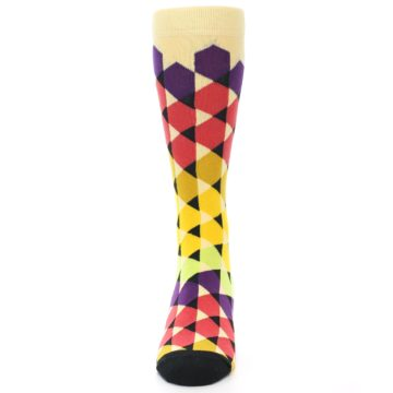 Image of Multi-Color Triangles Men's Dress Socks (front-05)