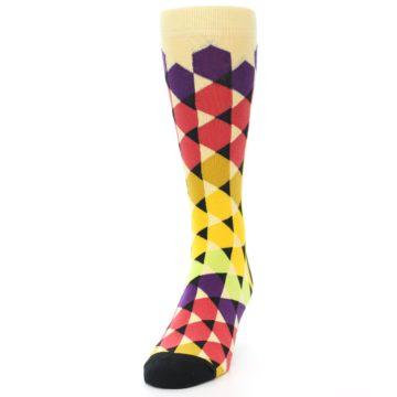 Image of Multi-Color Triangles Men's Dress Socks (side-2-front-06)
