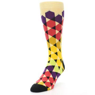 Image of Multi-Color Triangles Men's Dress Socks (side-2-front-07)