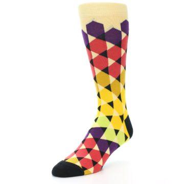 Image of Multi-Color Triangles Men's Dress Socks (side-2-front-08)