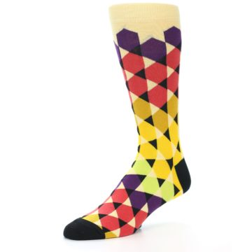 Image of Multi-Color Triangles Men's Dress Socks (side-2-09)