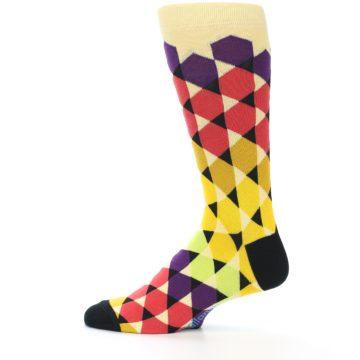 Image of Multi-Color Triangles Men's Dress Socks (side-2-12)
