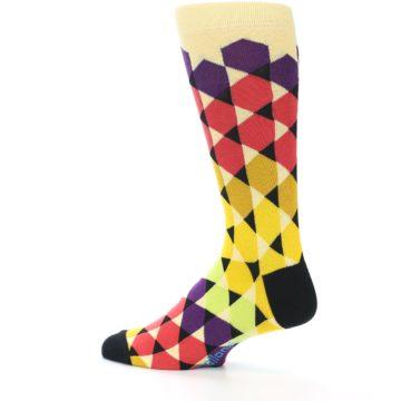 Image of Multi-Color Triangles Men's Dress Socks (side-2-13)