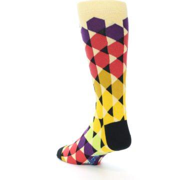 Image of Multi-Color Triangles Men's Dress Socks (side-2-back-15)