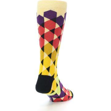 Image of Multi-Color Triangles Men's Dress Socks (side-1-back-20)