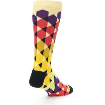 Image of Multi-Color Triangles Men's Dress Socks (side-1-back-21)