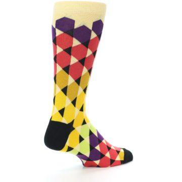 Image of Multi-Color Triangles Men's Dress Socks (side-1-back-22)
