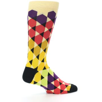 Image of Multi-Color Triangles Men's Dress Socks (side-1-23)