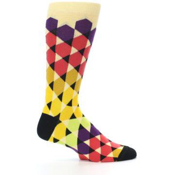 Image of Multi-Color Triangles Men's Dress Socks (side-1-24)