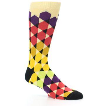 Image of Multi-Color Triangles Men's Dress Socks (side-1-26)