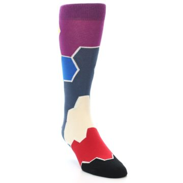 Image of Grey Purple Red Blue Honeycomb Men's Dress Socks (side-1-front-02)