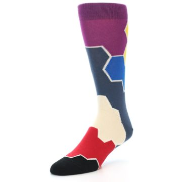 Image of Grey Purple Red Blue Honeycomb Men's Dress Socks (side-2-front-08)